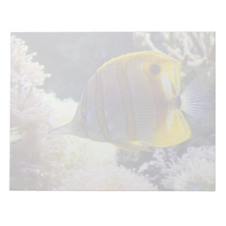 yellow & white Saltwater Copperband Butterflyfish Notepad