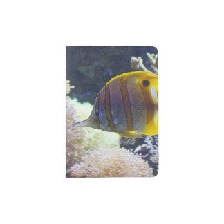 yellow & white Saltwater Copperband Butterflyfish Passport Holder