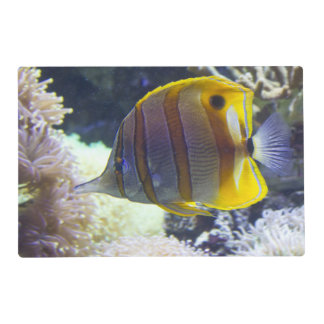 yellow & white Saltwater Copperband Butterflyfish Placemat