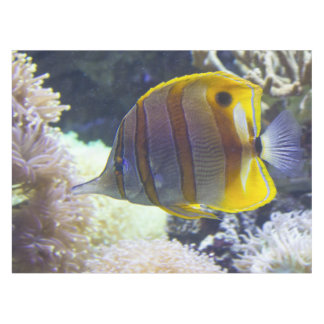 yellow & white Saltwater Copperband Butterflyfish Tablecloth