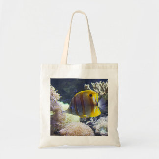 yellow & white Saltwater Copperband Butterflyfish Tote Bag