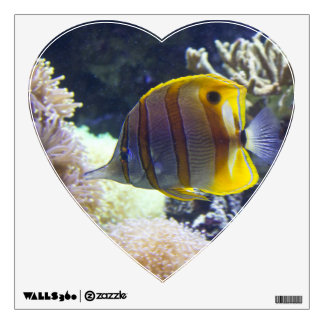 yellow & white Saltwater Copperband Butterflyfish Wall Decal