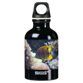 yellow & white Saltwater Copperband Butterflyfish Water Bottle