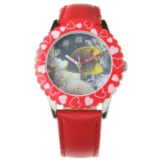 yellow & white Saltwater Copperband Butterflyfish Wrist Watch