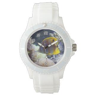 yellow & white Saltwater Copperband Butterflyfish Wrist Watches