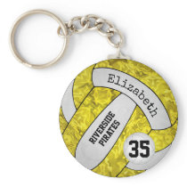 Yellow white school team colors girls volleyball keychain