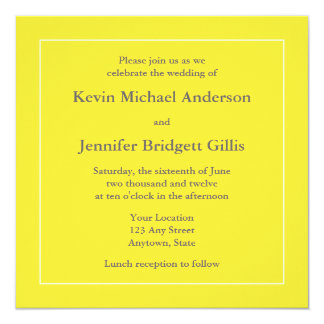 Yellow & White Square Invitations or Announcements