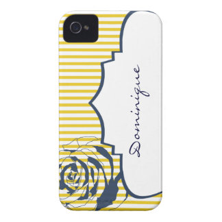 Yellow White Stripe Blue Rose iPhone 4 Case-Mate Cases