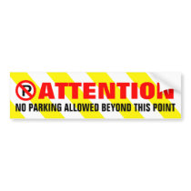 Yellow White Stripes Attention No Parking Bumper Sticker