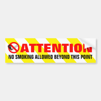 Yellow White Stripes Attention No Smoking Warning Bumper Sticker