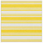 [ Thumbnail: Yellow & White Stripes/Lines Pattern Fabric ]