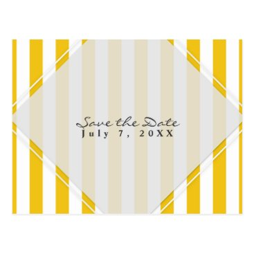 Beach Themed Yellow & White Stripes Modern Chic Save the Date Postcard