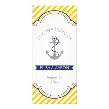Beach Themed Yellow white stripes navy nautical wedding program