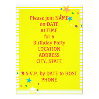 Yellow White Stripes Oval Party Collage Invitation