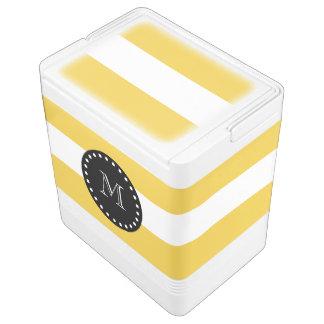 Yellow White Stripes Pattern, Black Monogram Cooler