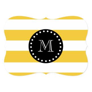 Yellow White Stripes Pattern, Black Monogram 5x7 Paper Invitation Card