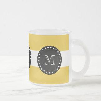 yellow White Stripes Pattern, Black Monogram 10 Oz Frosted Glass Coffee Mug
