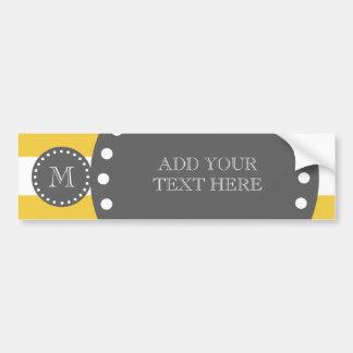 Yellow White Stripes Pattern, Charcoal Monogram Bumper Sticker