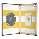 Yellow White Stripes Pattern, Charcoal Monogram iPad Air Case