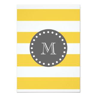 "Yellow White Stripes Pattern, Charcoal Monogram 4.5"" X 6.25"" Invitation Card"