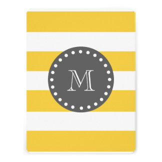 Yellow White Stripes Pattern Charcoal Monogram Personalized Invitations