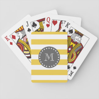 Yellow White Stripes Pattern, Charcoal Monogram Poker Deck