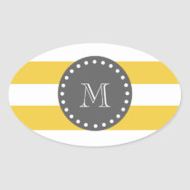 Yellow White Stripes Pattern, Charcoal Monogram Oval Sticker