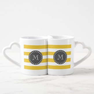 Yellow White Stripes Pattern, Charcoal Monogram Couples Mug