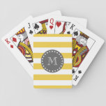 "Yellow White Stripes Pattern, Charcoal Monogram Playing Cards<br><div class=""desc"">A simple, modern, yellow and white stripes pattern with your initial in a modern font, on a charcoal gray circle label, banner, frame with a dotted white line border. GraphicsByMimi&#169; Trendy colors, mod, bold stripes or lines pattern you can personalize with your monogram for her. Use the template field to...</div>"