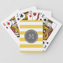 Yellow White Stripes Pattern, Charcoal Monogram Playing Cards