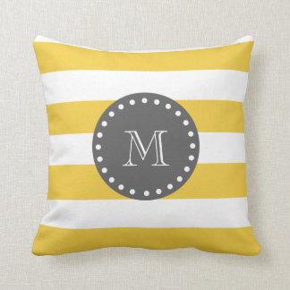 Yellow White Stripes Pattern, Charcoal Monogram Throw Pillow