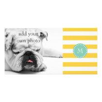 Yellow White Stripes Pattern, Mint Green Monogram Card