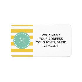 Yellow White Stripes Pattern, Mint Green Monogram Personalized Address Labels