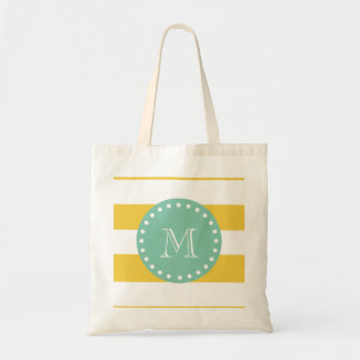 Yellow White Stripes Pattern, Mint Green Monogram Tote Bag