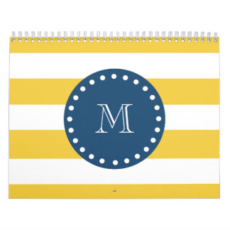 Yellow White Stripes Pattern, Navy Blue Monogram Calendars