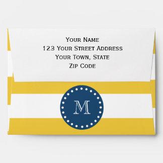 Yellow White Stripes Pattern, Navy Blue Monogram Envelope