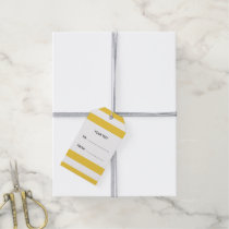 Yellow White Stripes Pattern, Navy Blue Monogram Gift Tags