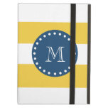 Yellow White Stripes Pattern, Navy Blue Monogram iPad Air Cover