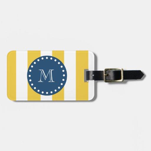 Yellow White Stripes Pattern, Navy Blue Monogram Bag Tags