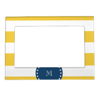 Yellow White Stripes Pattern, Navy Blue Monogram Magnetic Photo Frame