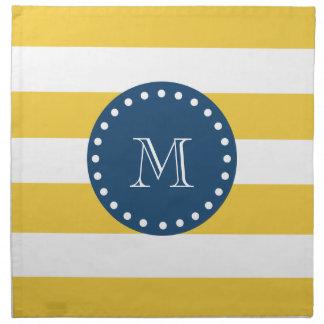 Yellow White Stripes Pattern, Navy Blue Monogram Napkins