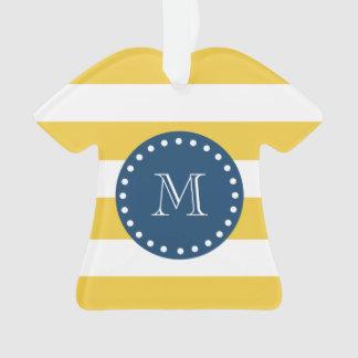 Yellow White Stripes Pattern, Navy Blue Monogram Ornament