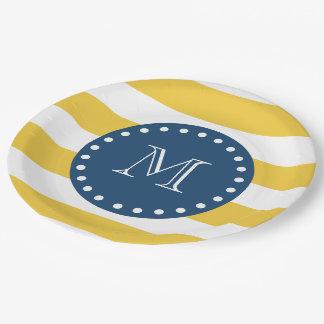 Yellow White Stripes Pattern, Navy Blue Monogram Paper Plate