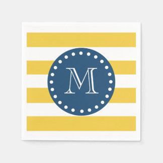 Yellow White Stripes Pattern, Navy Blue Monogram Standard Cocktail Napkin