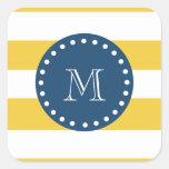 Yellow White Stripes Pattern, Navy Blue Monogram Stickers