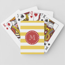 Yellow White Stripes Pattern, Red Monogram Playing Cards