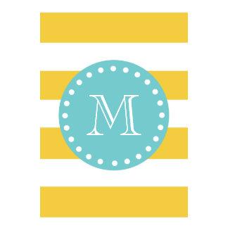 Yellow White Stripes Pattern Your Monogram Wall Calendar