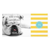 Yellow White Stripes Pattern, Your Monogram Card