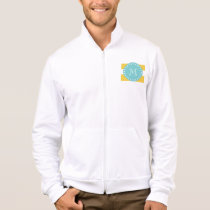 Yellow White Stripes Pattern, Your Monogram Jacket