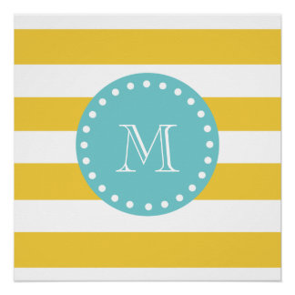 Yellow White Stripes Pattern, Your Monogram Poster